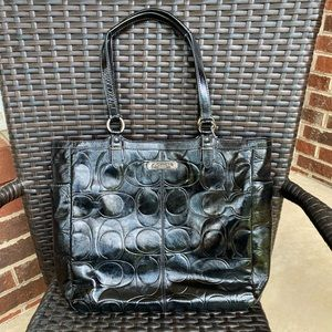 Authentic Patent Black Leather Coach Zippered Tote